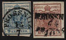 1850 2 Marke! 9kr und 6kr, verschiedenen PROSSNITZ (Mähren) Stempeln.