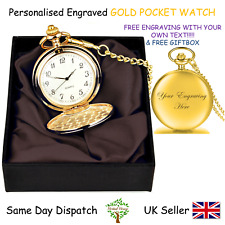 Personalised Engraved Silver Pocket Watch Chain Fob Satin -wedding Gift Birthday