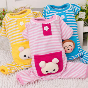 Dog Print Striped Cotton Dog Pajamas PJS Small Dog Jumpsuit Pet Puppy Clothes