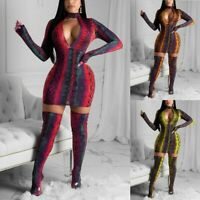 Women Sexy Hollow Out Long Sleeve Bodycon Animal Print Party Cocktail Mini Dress