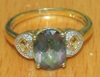 SECONDHAND 9ct YELLOW GOLD MYSTIC TOPAZ & DIAMOND RING SIZE N