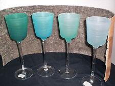 Teelichtglas auf Fuß 4 Farben grün aqua türkis 4er-Set