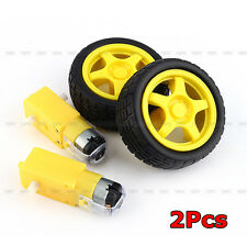 2X for Arduino Smart Car Robot Plastic Tire Wheel with DC 3-6V Gear Motor Hot