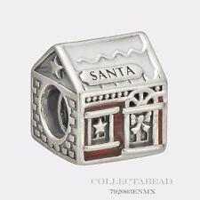 Authentic Pandora Silver Santa's Home Red & White Enamel Bead 792003ENMX