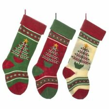 """Stocking Christmas Tree Knit Green White Red Set 3 Wall Hanging Decor 20"""""""