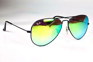 Authentic Ray Ban Aviator Classic Green Flash Lens RB3025 Sunglasses + Case