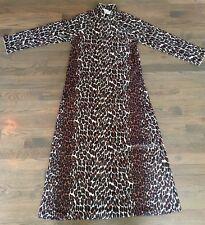Vtg Loungewear Leopard Animal Print Nylon Caftan Robe Hostess Dress S/M 38