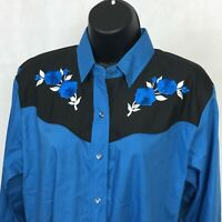 Ely Country Charmers M Pearl Snap Shirt Embroidered Blue Roses Western Womens