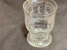 "Antique Bohemian engraved beaker wine glass 4.5"" 18thC German spinning proverb"