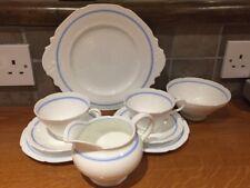 Paragon White, Blue Trim Bone China. 2 Trios, 1 Cake Plate, Milk Jug, Sugar Bowl