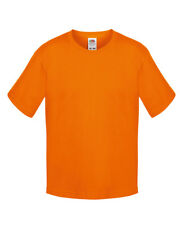 Fruit Of The Loom BOY'S T-SHIRT 100% SOFTSPUN COTTON TEE TOP PLAIN COLOURS KIDS