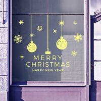 Merry Christmas Xmas Baubles Snow Flakes Display Window Wall Decals Stickers B10