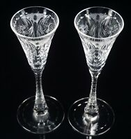 "Two Hawkes Cut Glass ""Clarendon"" Stems 7 1/8"" Tall Cocktail Glasses"