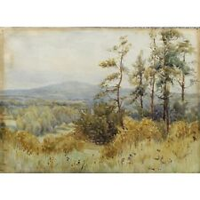 Old Antique Signed Unframed Victorian Heathland Landscape Watercolour Painting