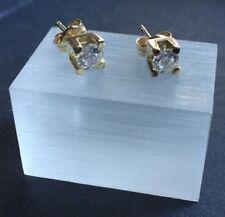 Solitär Ohrstecker eckige Fassung 585er Gold Ohrringe Goldohrstecker Kristall