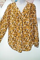 SIZE 16 MUSTARD FLORAL PRINT TUNIC TOP BY MATALAN  NEW WITH TAGS