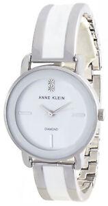Anne Klein AK/2813WTSV White Dial Diamond Accent Two Tone Women's Watch