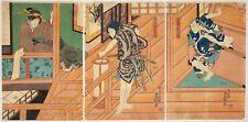 Toyokuni Iii, Kabuki Play, Stage, Actors, Art, Original Japanese Woodblock Print