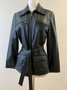 LEATHER LIMITED Women's Size S Zip Front Black Leather Belted Jacket. Pre-owned