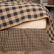 Farmhouse Country Primitive Black Check Twin Bed Skirt Dust Ruffle Vhc Brands