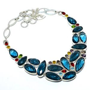 "Blue Tourmaline & Multi 925 Sterling Silver Handmade Necklace 17.99"" AMN-295"