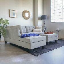 Contemporary Sofa Reversible L-Shape Sectional Set Ottoman Light Grey Sofa Set