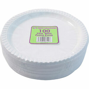 """100 x WHITE PLASTIC PLATES ROUND 23cm 9"""" TABLEWARE PARTY BIRTHDAY DISPOSABLE NEW"""