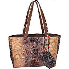Maya Evangelista Alligator Crocodile Distressed Leather Jeweled Large Tote Bag