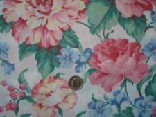 Vintage Unbranded Pink/Blue/Grn Cabbage Rose Print 100% Cotton  1 3/8 yds x 43""