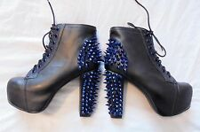 Jeffrey Campbell Lita Black leather platform Boots with blue Spikes 5 genuine
