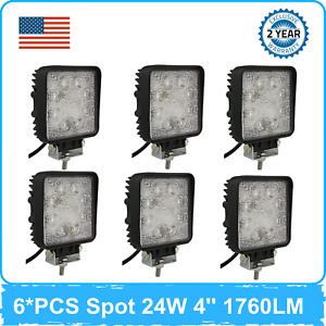 6PCS 24W 4''inch LED Work Light Pods Cube Square Car Vehicle 4X4 UTE RZR 18W/48W
