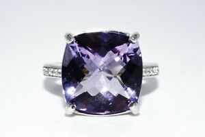 11.92CT NATURAL PURPLE AMETHYST & WHITE TOPAZ COCKTAIL SILVER RING SIZE 8