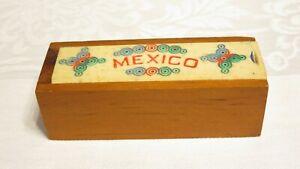 Vintage Miniature Hand Carved Bone Domino Set & Wood Box Mexico 28 Tiles