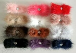 Fluffy Hair Bow Clips with Diamante Center Faux Fur UK Seller 🇬🇧