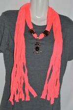 Scarf OWL Black Stone Charm Jewelry Necklace Choker Rings Loop Scarf PINK NEON