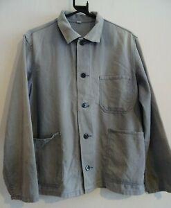 Vintage sunfaded French faded paint marked hobo work chore workwear jacket
