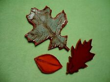 Set of (3) colorful MB signed ART POTTERY leaves from the Pacific Northwest. VGC