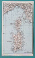 "1934 MAP 6 x 10"" (15 x 25 cm) - CORSICA & SARDINIA Islands Coast of Genoa Italy"