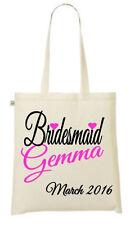 Personalizzato Damigella d'onore-il tuo nome e data Stampato Tote/Shopper Bag-Matrimonio/
