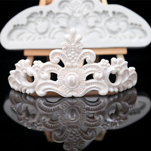Vintage Relief Baroque Silicone Cake Mold Crown Fondant Border Paste Icing Mould