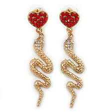 Exquisite Snake With Red Crystal Heart Drop Earrings In Gold Plating - 7cm Lengt