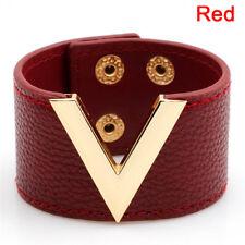 Wide V Leather Bracelet Bangle Punk Cuff Bracelet Wrap Wristband Fashion Jewelry