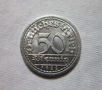 GERMANY, WEIMAR REPUBLIC. 50 PFENNIG, 1922.