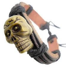 D1075 fashion jewelry cool skull surfer hemp cuff hot leather bracelet