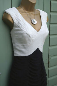 Sara Bernshaw Black white Ruched Bodycon Dress UK Size 14 Wedding