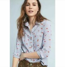 Maeve Anthropologie Women Agda Embroidered Flower Blouse Shirt sz 6P $98