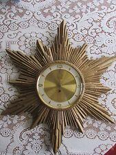 Mid Century TURNER Starburst Wall Clock 8 Day Gold Resin Hard Plastic