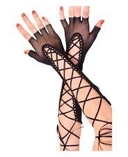 Sexy Guanti a rete con intreccio in raso nero net guanti donna sexy shop