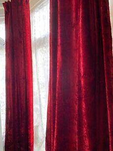 Rectella Julian Charles Crushed Velvet Curtains Wine Burgundy 41x72 in Blackout