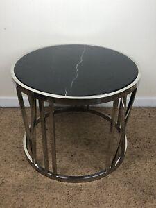 Stunning & Rare Eichholtz Black Marble & Mirror Chrome Roman Numeral Side Table